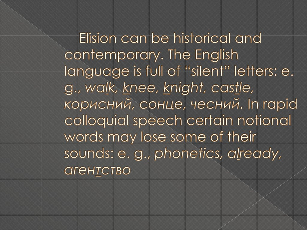 "Elision can be historical and contemporary. The English language is full of ""silent"" letters: e. g., walk, knee, knight, castle, корисний, сонце, чесний. In rapid colloquial speech certain notional words may lose some of their sound"