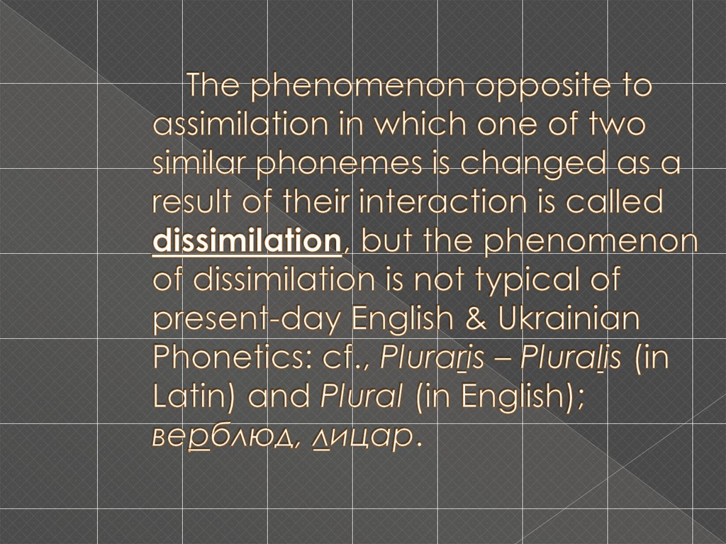 The phenomenon opposite to assimilation in which one of two similar phonemes is changed as a result of their interaction is called dissimilation, but the phenomenon of dissimilation is not typical of present-day English & Ukrainian Phonetics: cf., Plurari