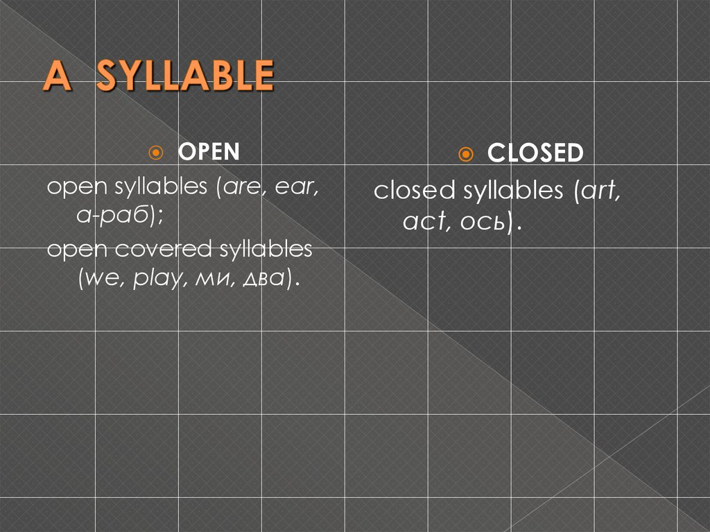 A SYLLABLE