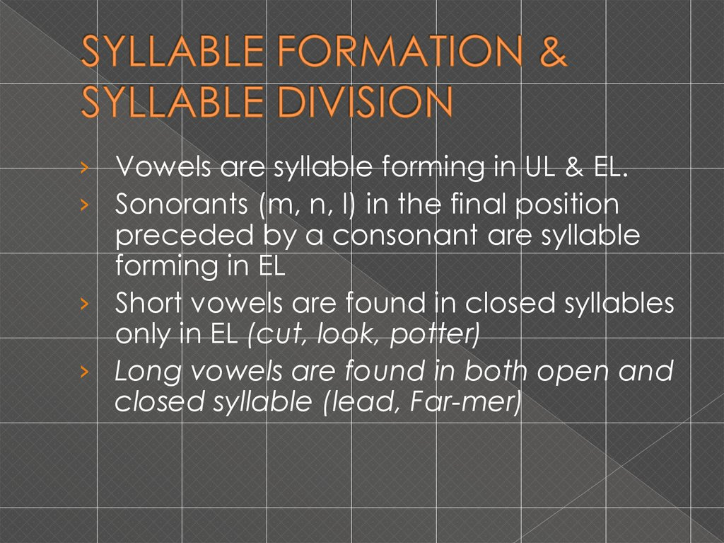 SYLLABLE FORMATION & SYLLABLE DIVISION