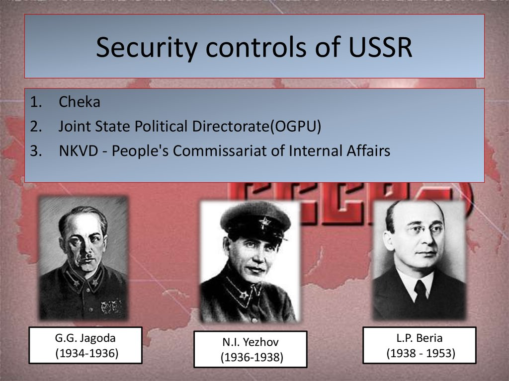 Security controls of USSR