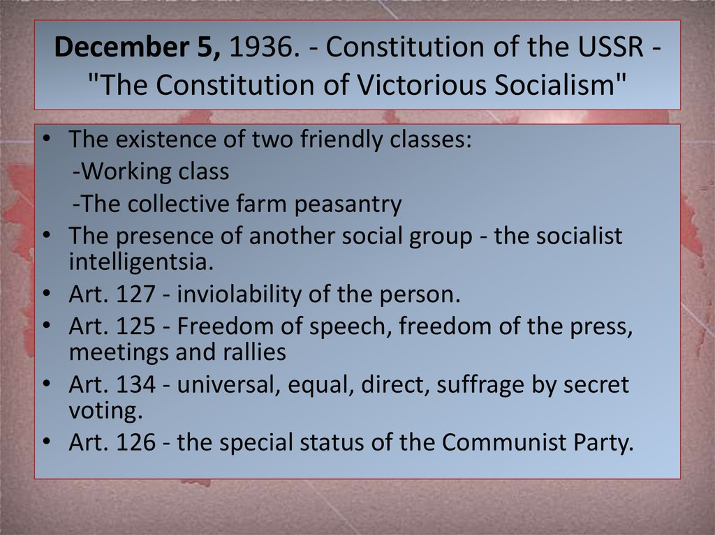"December 5, 1936. - Constitution of the USSR - ""The Constitution of Victorious Socialism"""