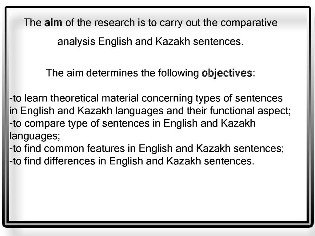 Types of sentences in english and kazakh languages