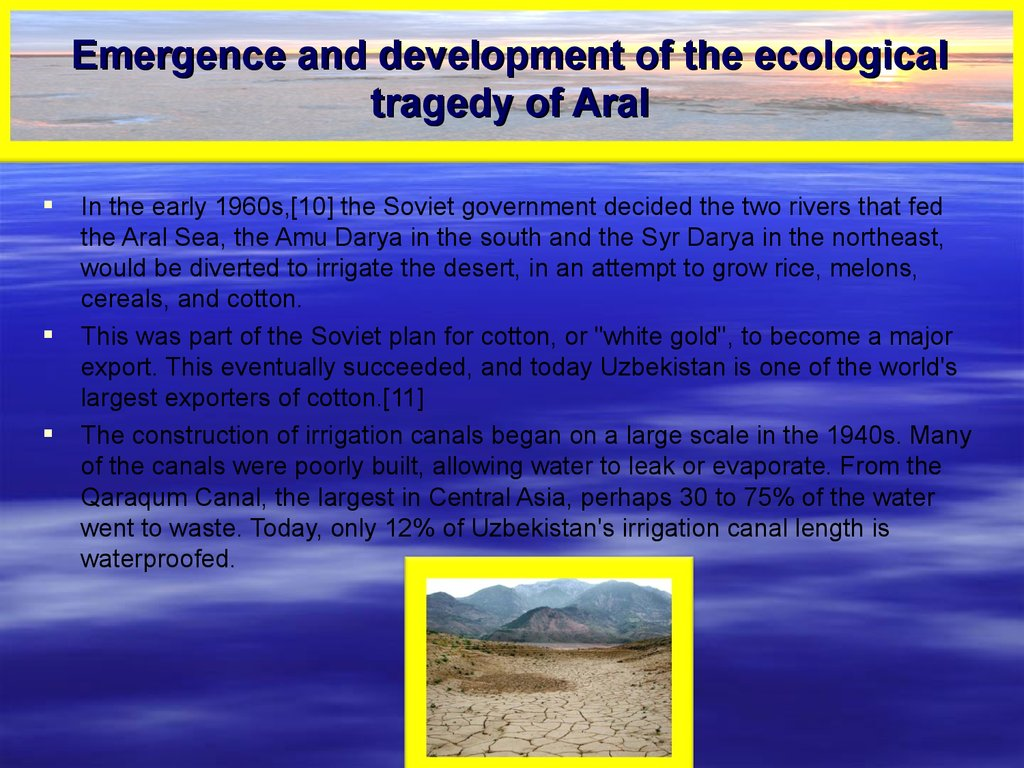 Emergence and development of the ecological tragedy of Aral