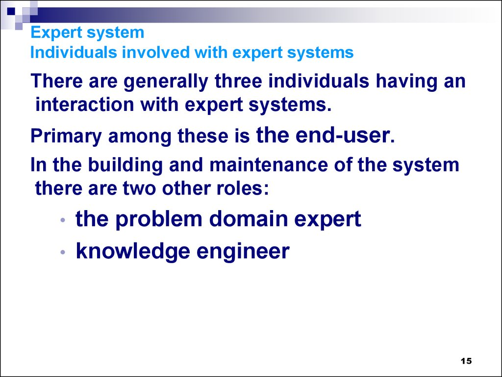 Expert system Individuals involved with expert systems