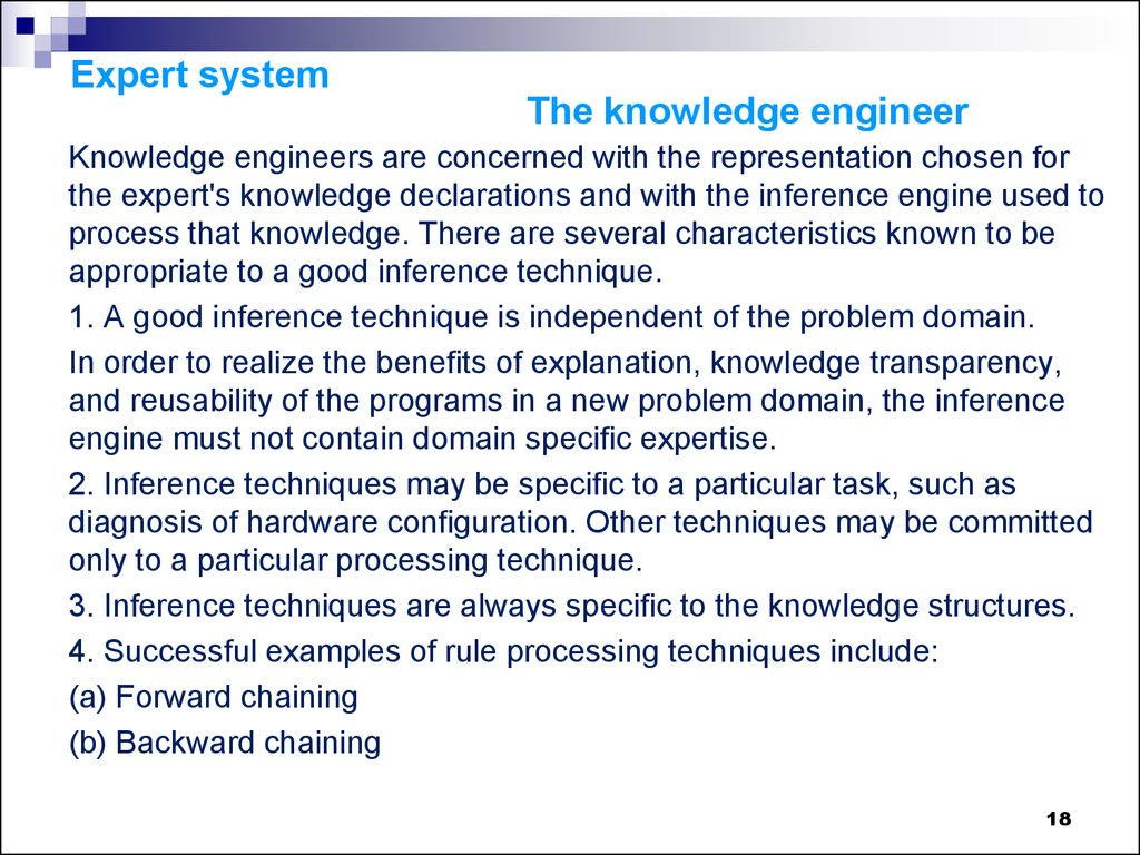 Expert system The knowledge engineer