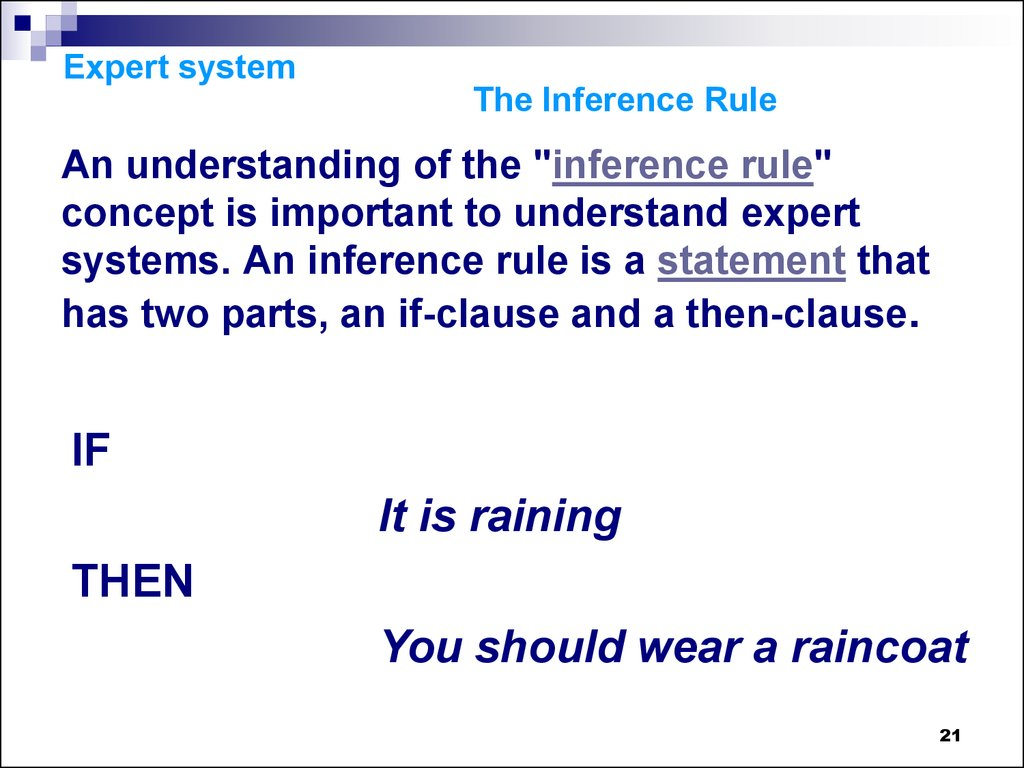 Expert system The Inference Rule