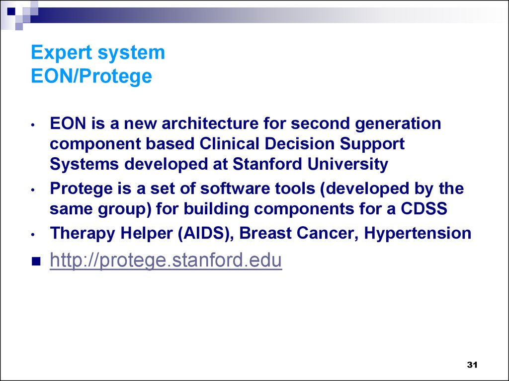 Expert system EON/Protege