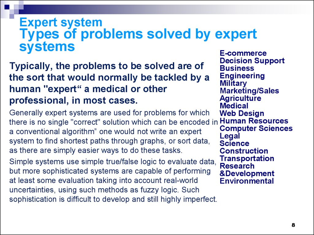 Expert system Types of problems solved by expert systems