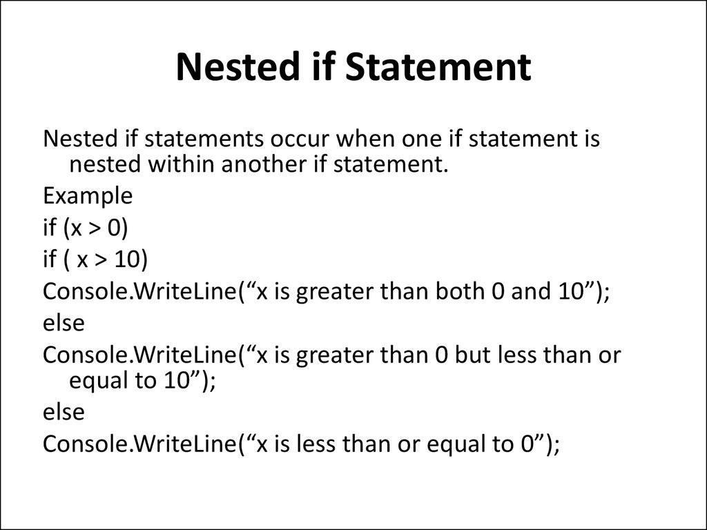 Nested if Statement