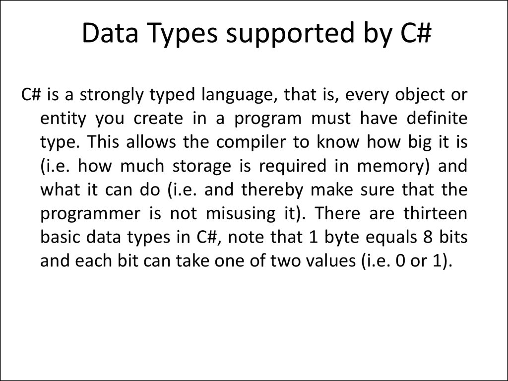 Data Types supported by C#