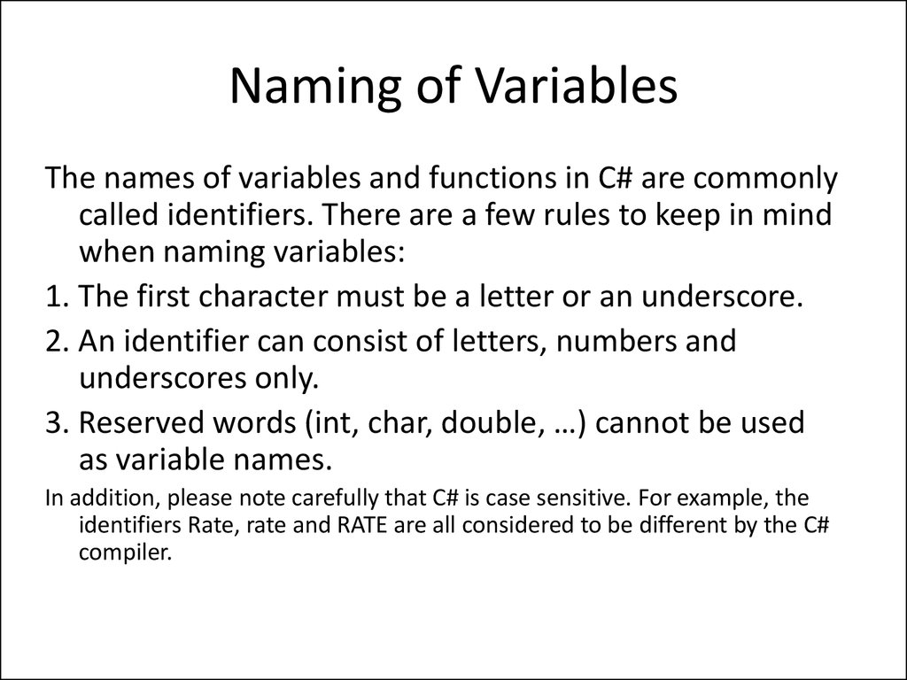 Naming of Variables