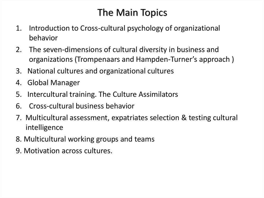 Cross-Cultural Topics in Psychology