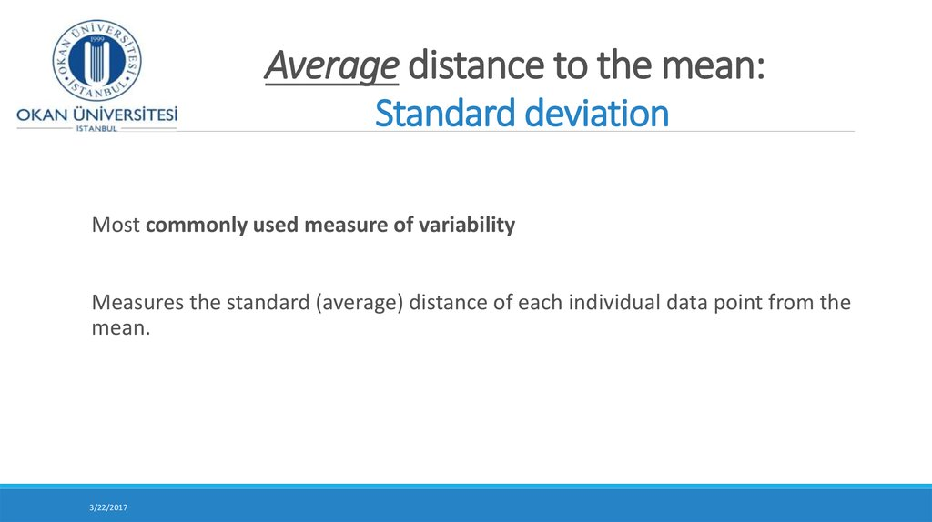 Average distance to the mean: Standard deviation