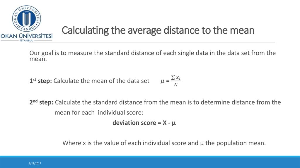 Calculating the average distance to the mean