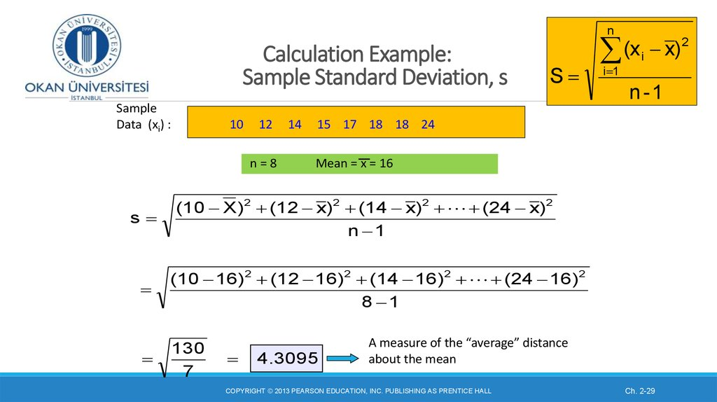Calculation Example: Sample Standard Deviation, s
