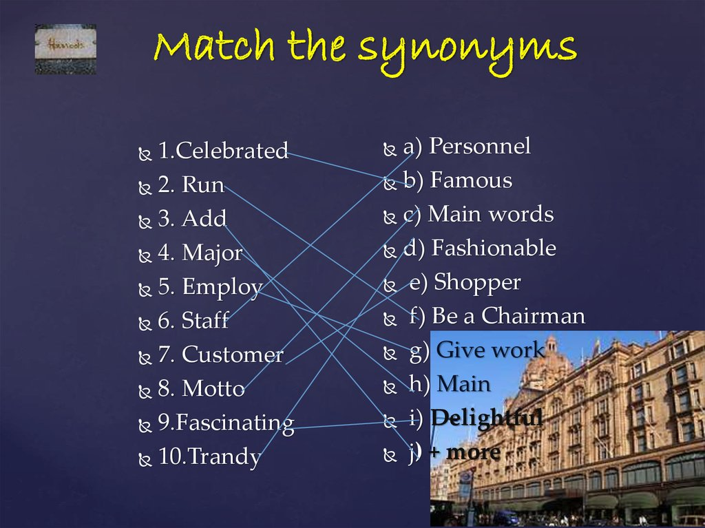 Match the synonyms