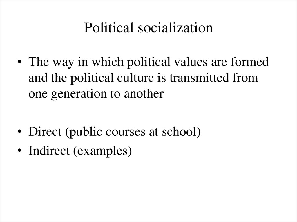 political socialization Research on political socialization commenced in earnest in the 1950s in an attempt to understand the decision-making process of the american voter, voting behavior scholars in the 1950s found that factors outside an individual's control influenced, indeed dictated, his or her vote choice in a given election.