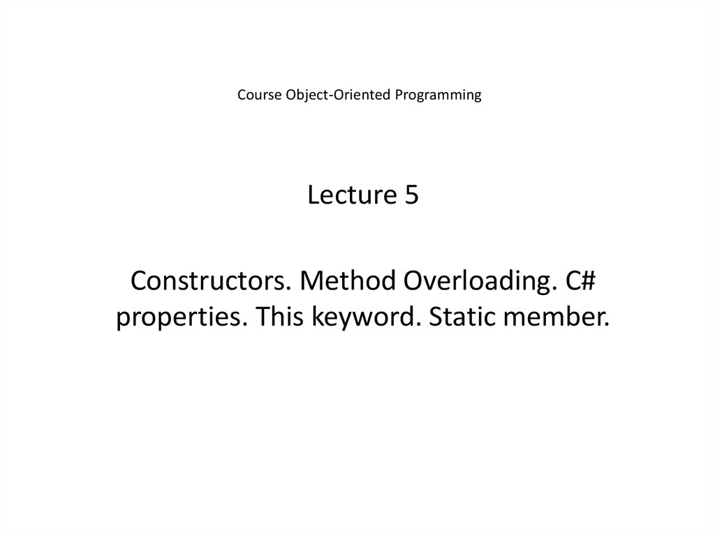 Course Object-Oriented Programming