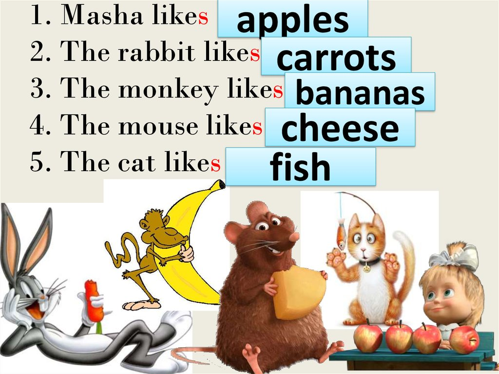 1. Masha likes … 2. The rabbit likes… 3. The monkey likes… 4. The mouse likes… 5. The cat likes …