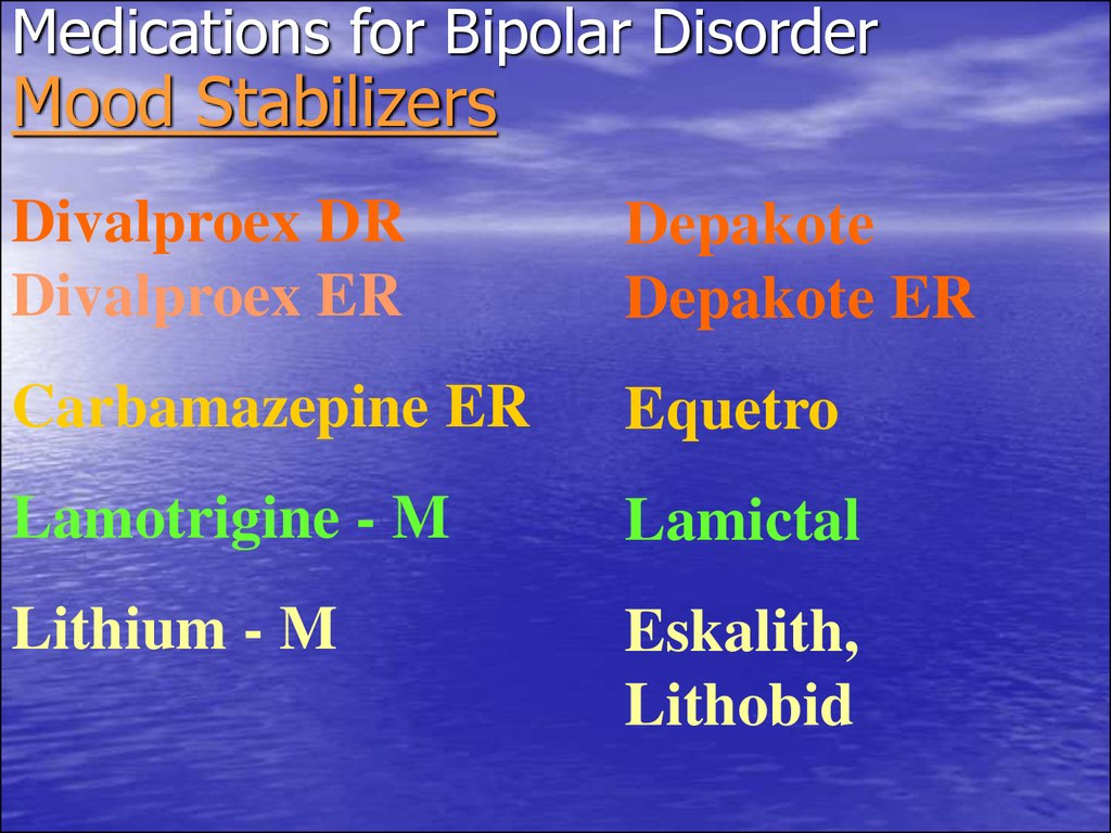 Medications for Bipolar Disorder Mood Stabilizers