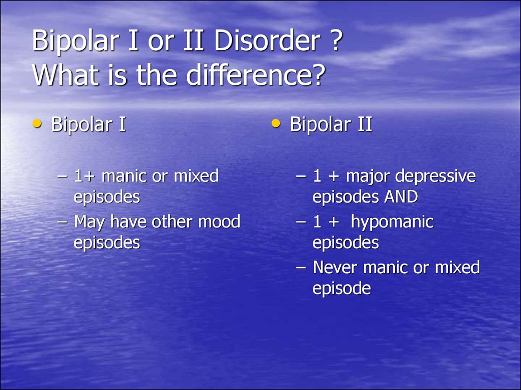 Bipolar I or II Disorder ? What is the difference?