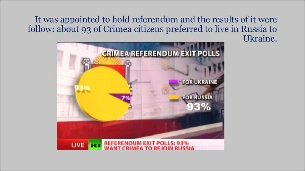 It was appointed to hold referendum and the results of it were follow: about 93 of Crimea citizens preferred to live in Russia to Ukraine.