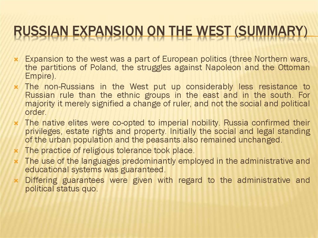 Russian expansion on the West (Summary)