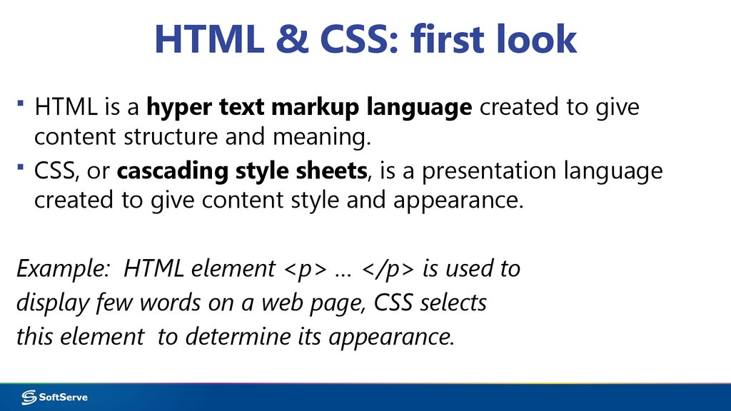 HTML & CSS: first look