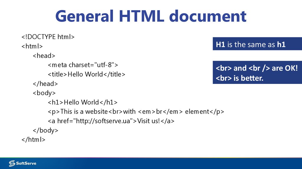 General HTML document