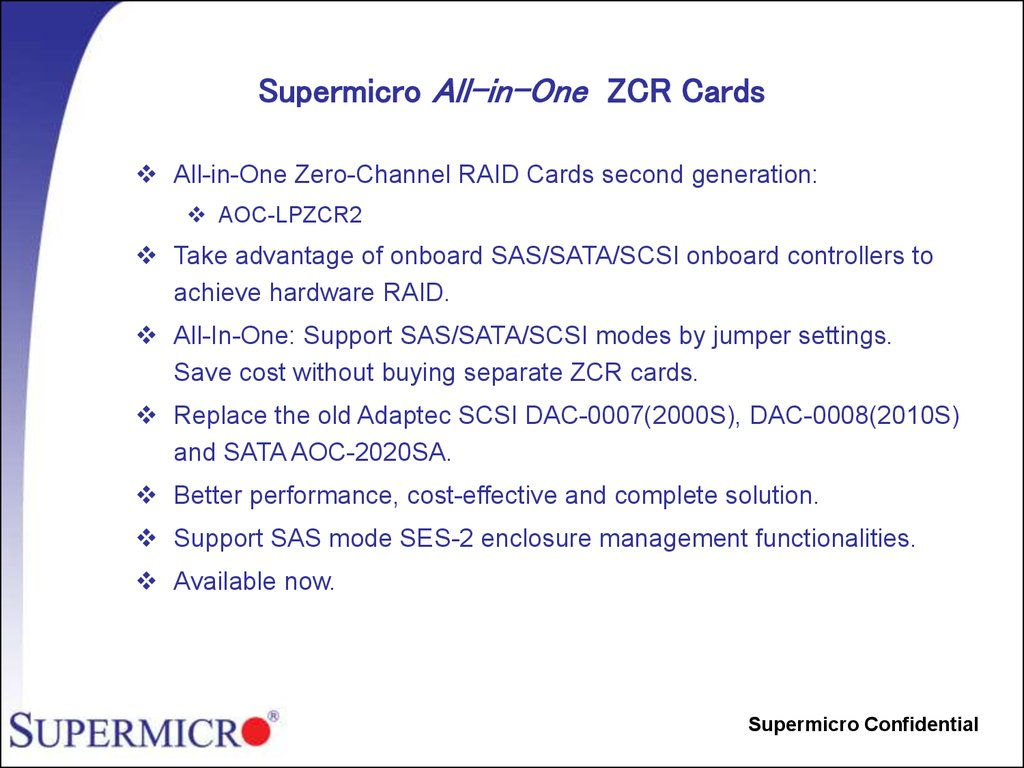 Supermicro All-in-One ZCR Cards