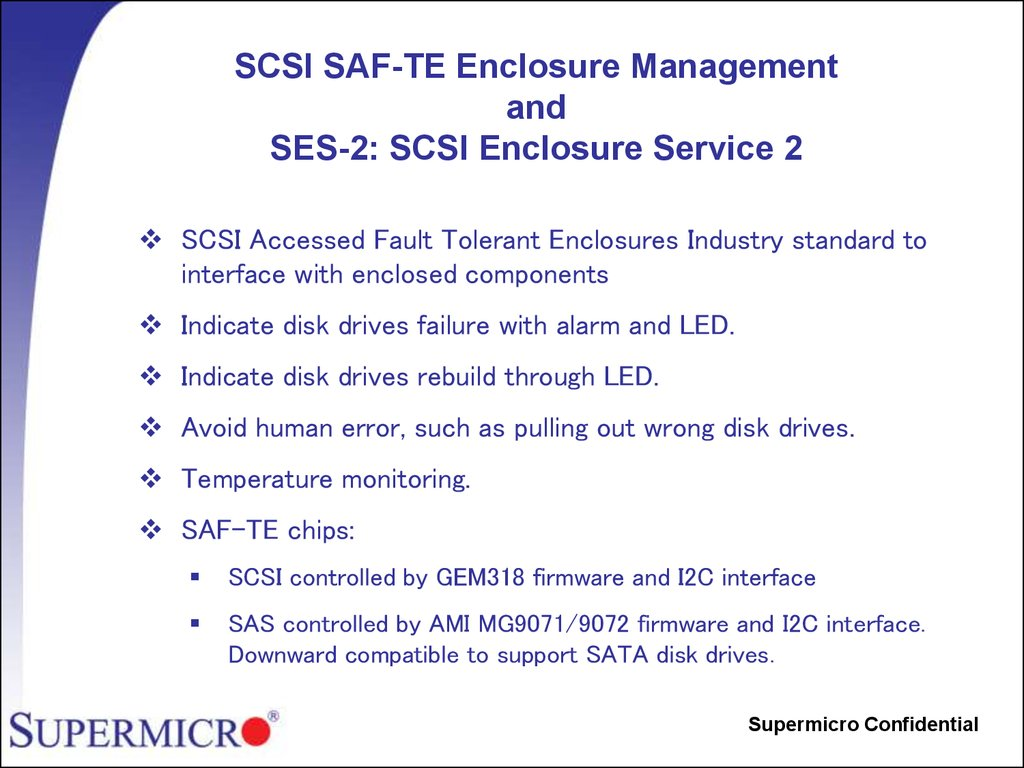SCSI SAF-TE Enclosure Management and SES-2: SCSI Enclosure Service 2