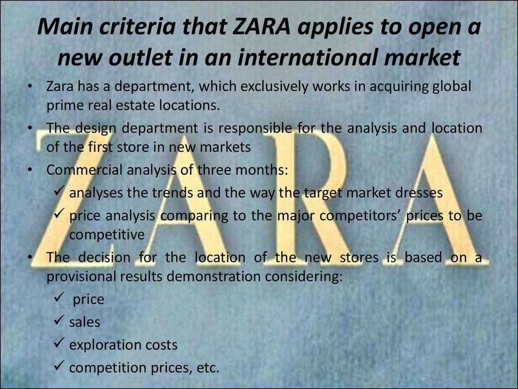 zara operations management 21-2-2005 by defying conventional wisdom, zara can design and distribute a garment to market in just fifteen days  zara's secret for fast fashion.