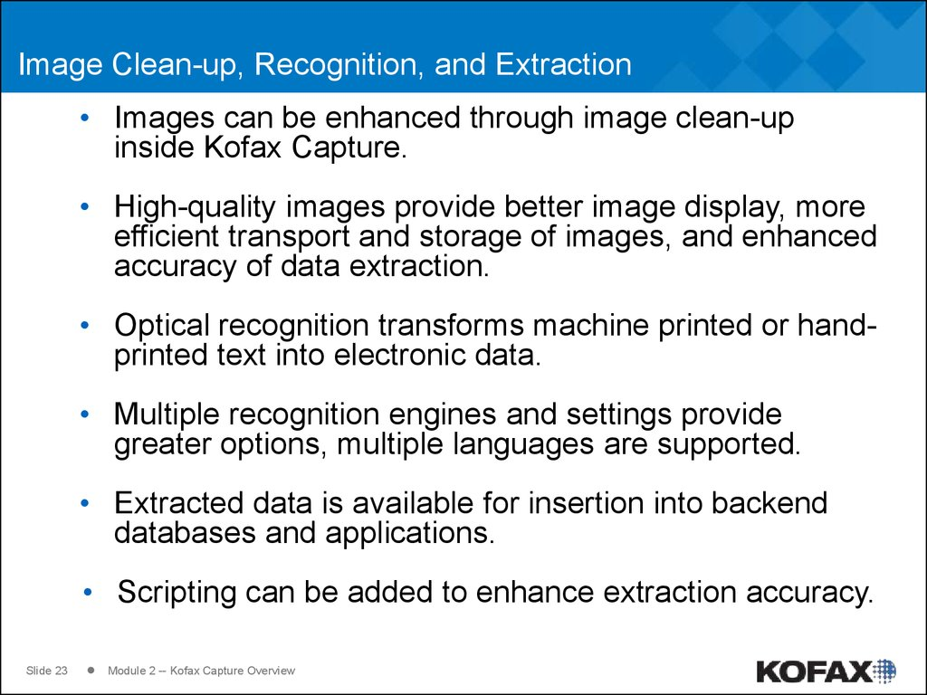 Image Clean-up, Recognition, and Extraction