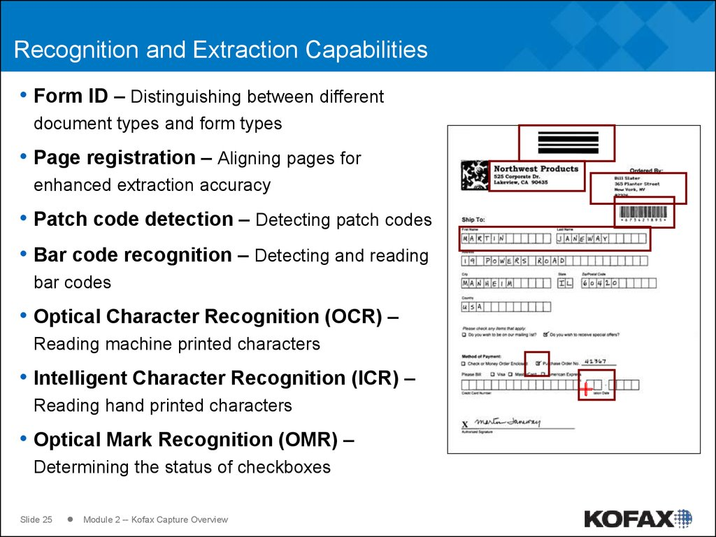 Recognition and Extraction Capabilities