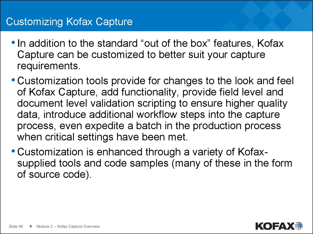 Customizing Kofax Capture
