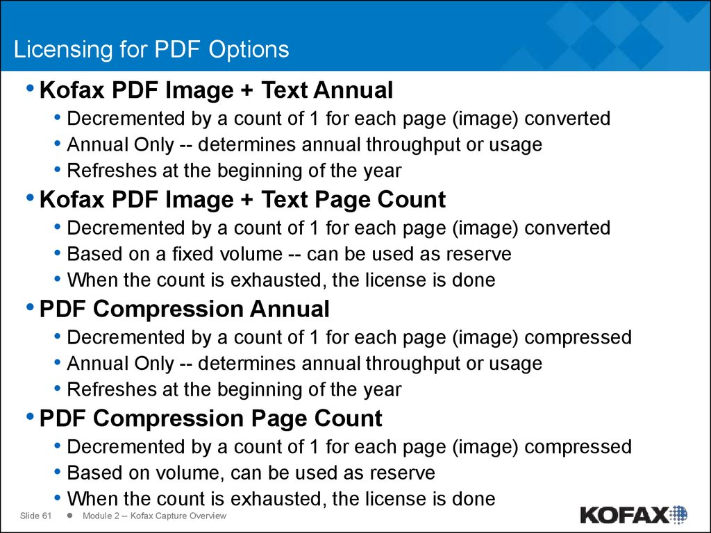 Licensing for PDF Options