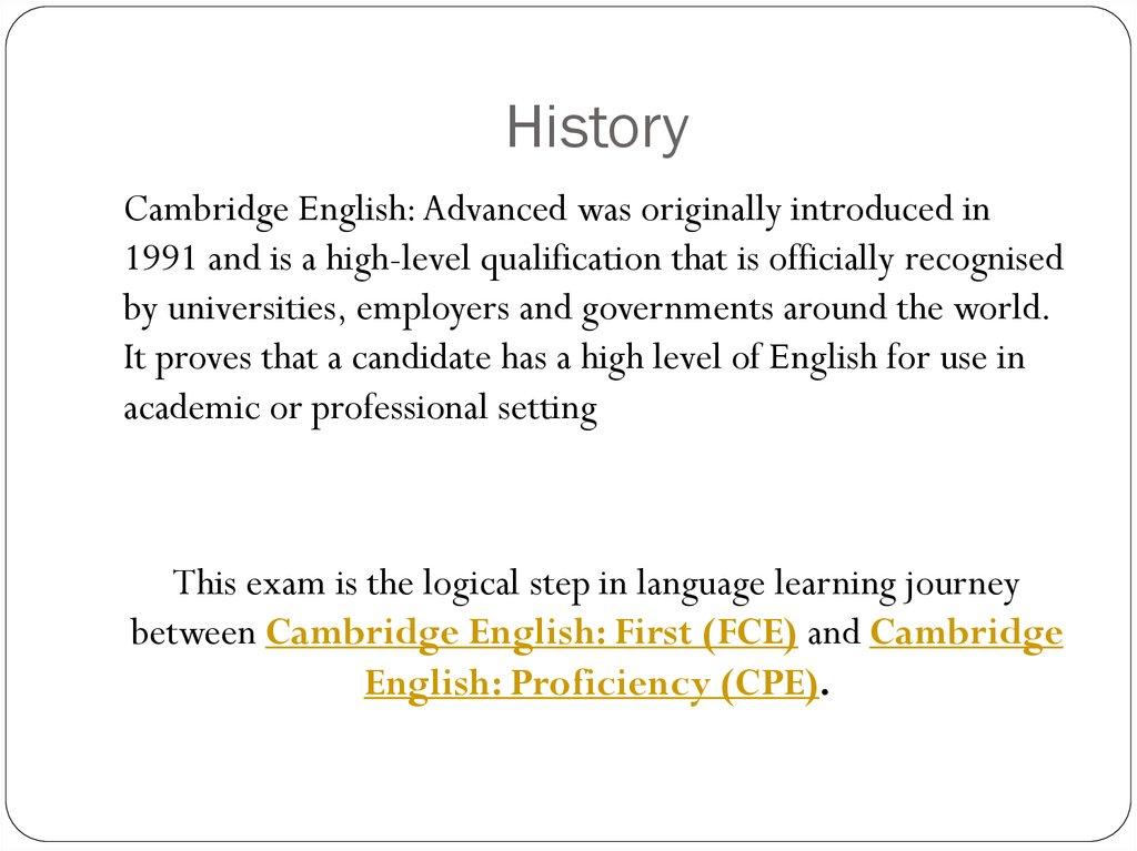 International Exams: FCE, CAE, CPE - online presentation