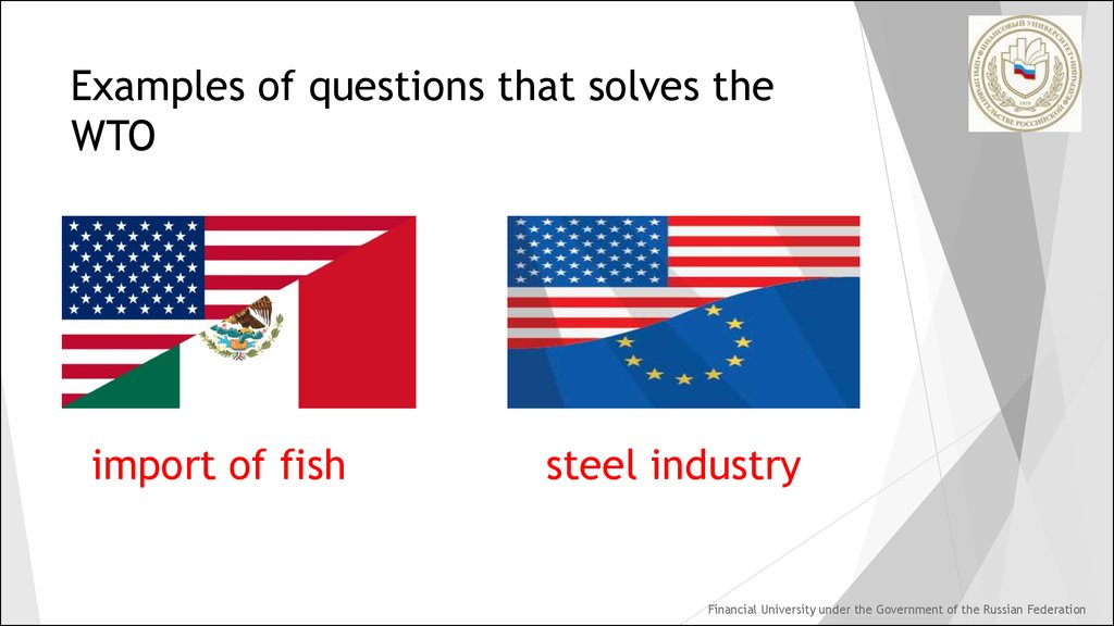 Examples of questions that solves the WTO