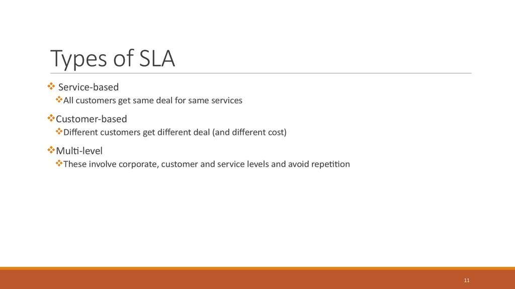 Types of SLA