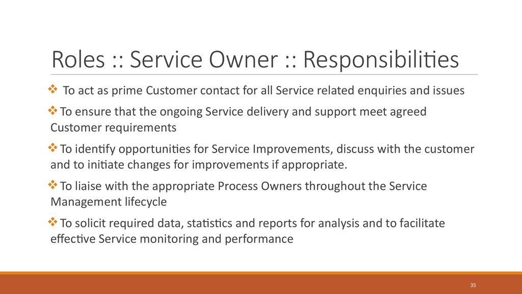 Roles :: Service Owner :: Responsibilities