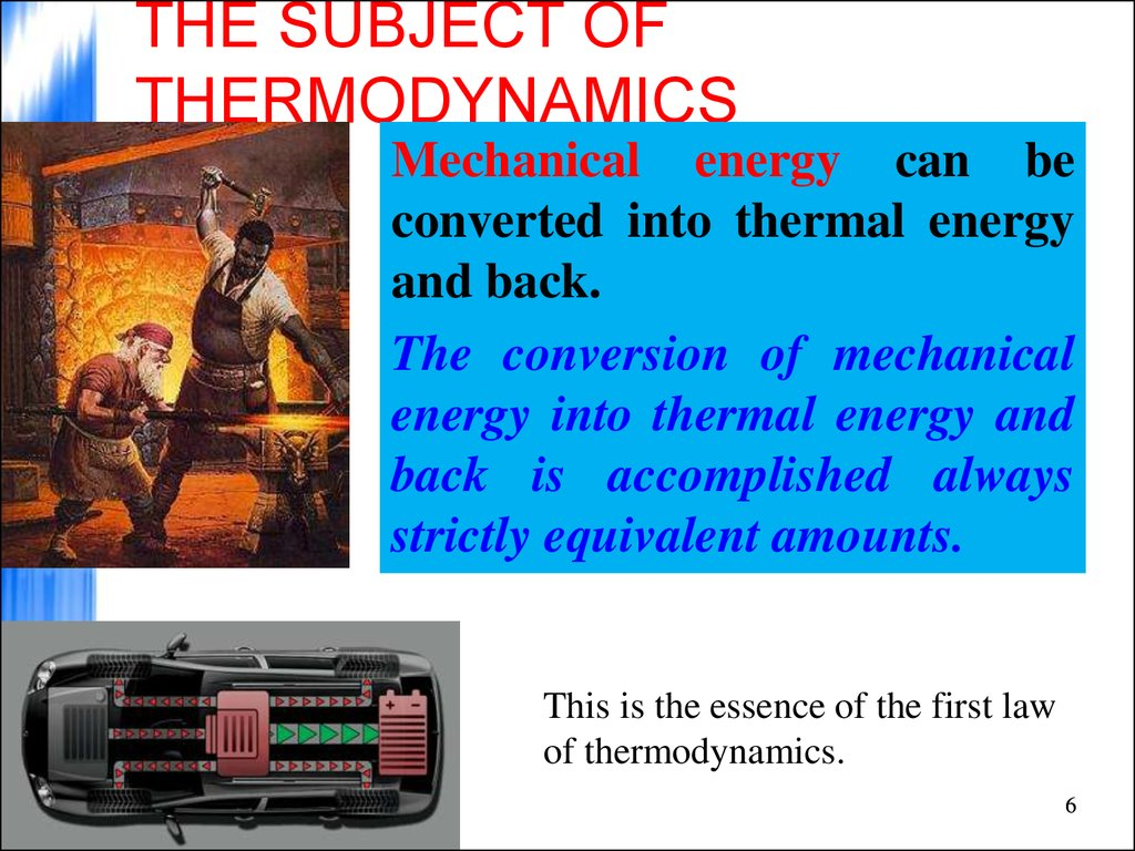 THE SUBJECT OF THERMODYNAMICS