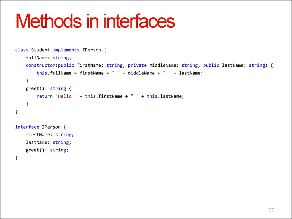 Methods in interfaces