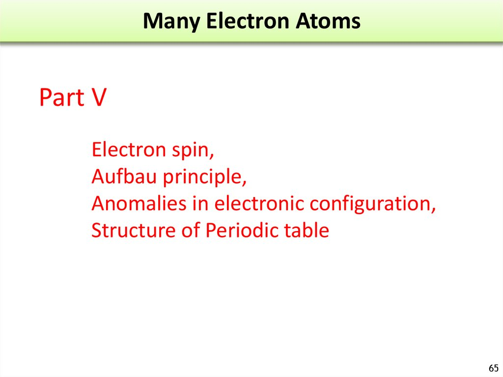 Many Electron Atoms