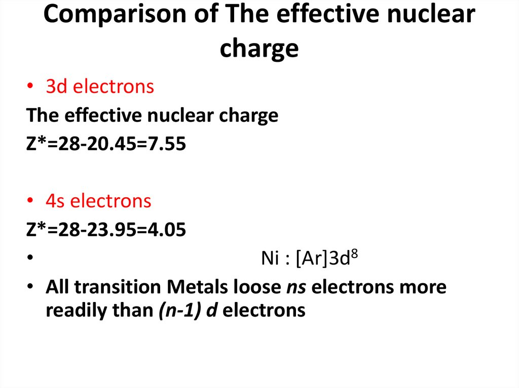 Comparison of The effective nuclear charge