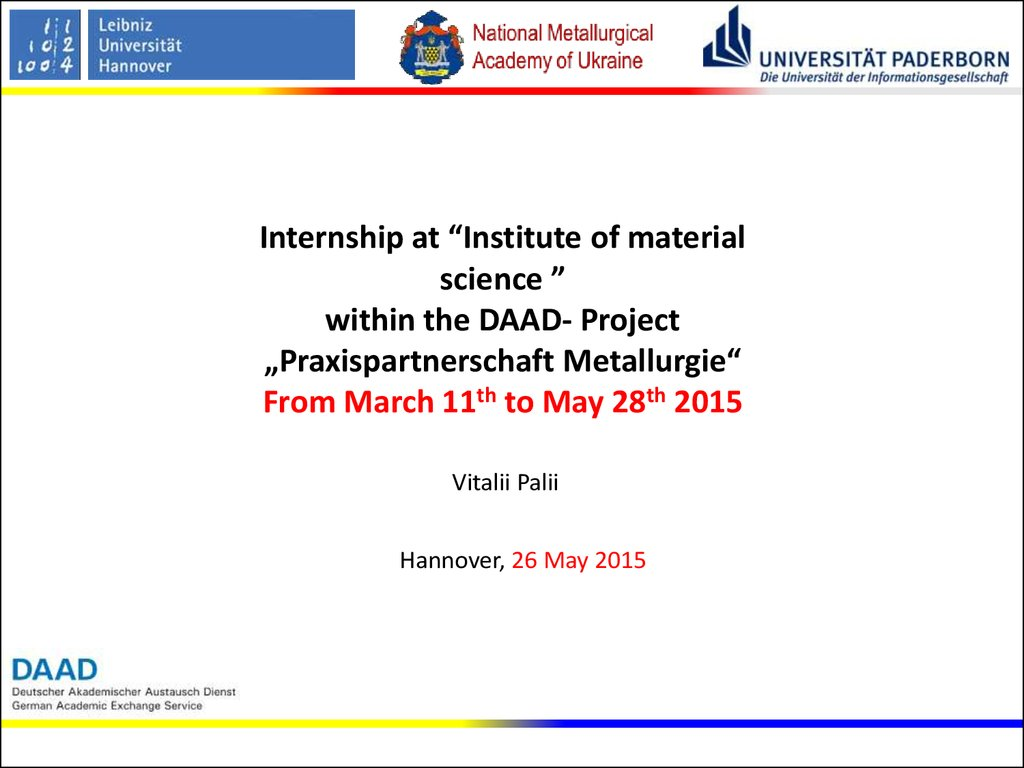 Internship at institute of material science - online presentation