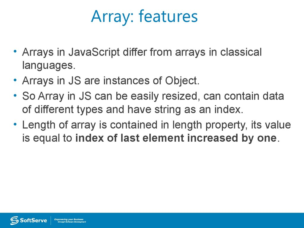 Array: features