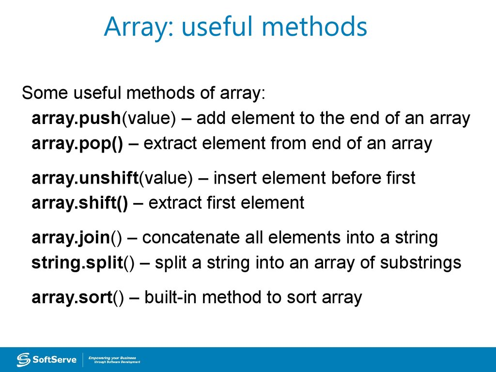 Array: useful methods