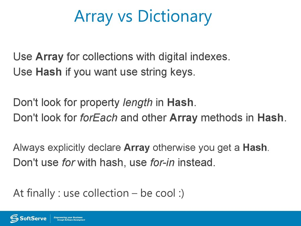 Array vs Dictionary