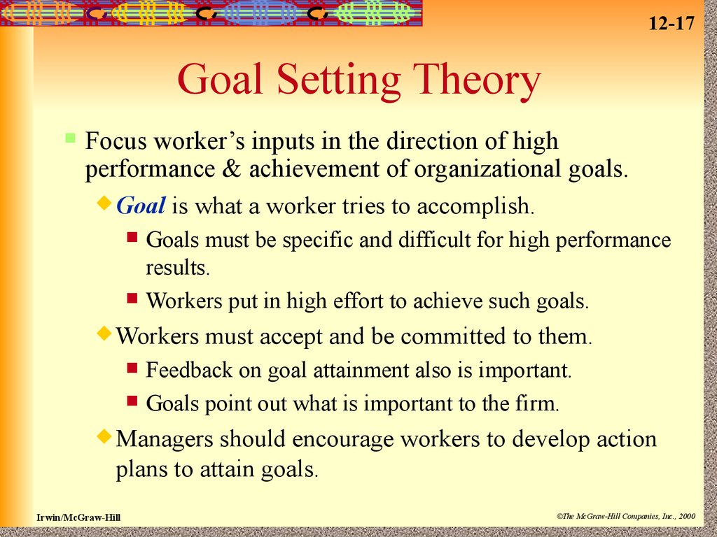the goal setting theory Goal setting theory: understanding how goal setting works january 2, 2014 by kasia mikoluk nearly 2300 years ago, the great greek philosopher aristotle wrote about the causes of any change or event.